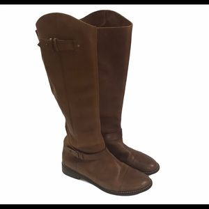 Halogen Leather Tall Riding Style Brown Zip Boots